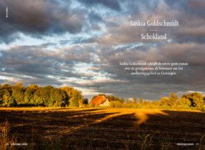 Flyer van uitgeverij Cossee over het nieuwe boek Schokland van Saskia Goldschmidt